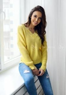 dc70c19d19ff Dámsky sveter s roztrhaným strihom žltý empty